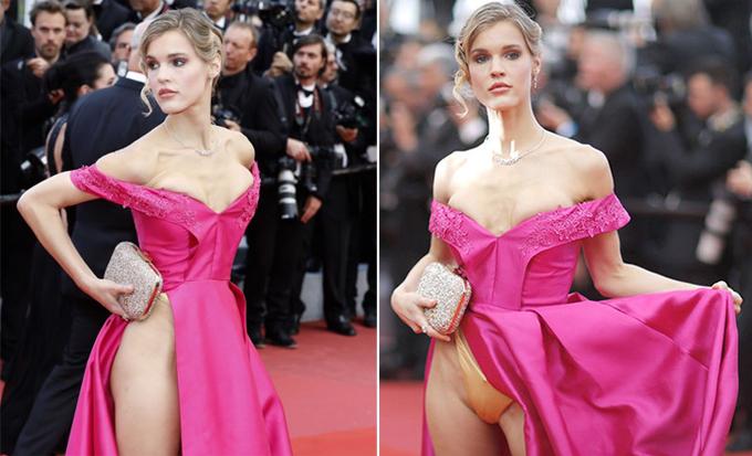 Nữ diễn viên Joy Corrigan cố tình gây chú ý với chiếc váy xẻ cao tới eo trong buổi chiếu phim BlacKkKlansman.