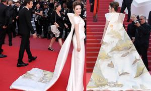 Lý Nhã Kỳ khoác áo choàng thêu cảnh vịnh Hạ Long lên thảm đỏ Cannes
