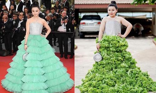Nữ sinh Thái Lan biến đồ ăn thành trang phục của người nổi tiếng