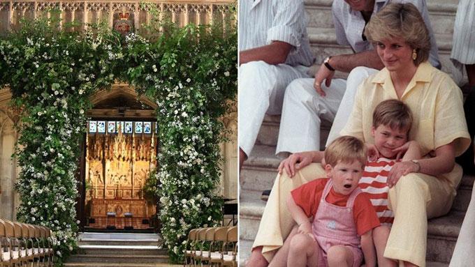 Trong ngày trọng đại, Hoàng tử Harry dường như đã nhắc mọi người nhớ đến người mẹ quá cố của anh - Công nương Diana, khi lựa chọn hoa hồng màu trắng tuyết - loài hoa mà công nương yêu thích để trang hoàng không gian nơi cử hành hôn lễ. Nhà nguyện St Georgeở lâu đài Windsorvới sắc trắng của hoa hồng, mẫu đơn, hoa mao địa đàngcùng những tán lá lớn màu xanh bao quanh cửa Tây và xếp dọc hai bên bậc thang.