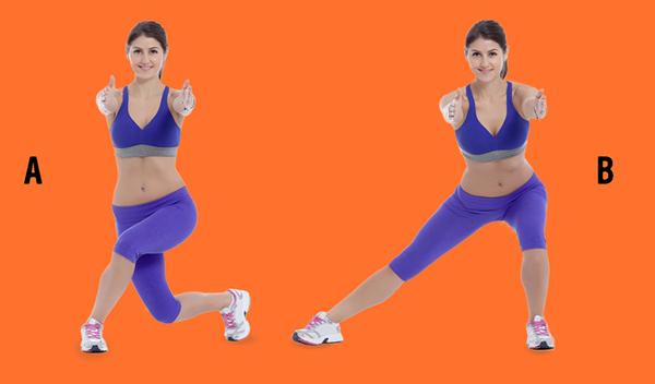 Đứng thẳng, hai chân mở rộng bằng một vai, hai tay duỗi thẳng trước vòng một, lòng bàn tay hướng vào nhau.