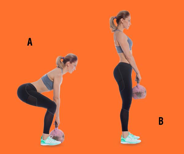 Đứng thẳng, cầm tạ tròn vừa sức phía trước người. Thực hiện động tác squat 30 lần.