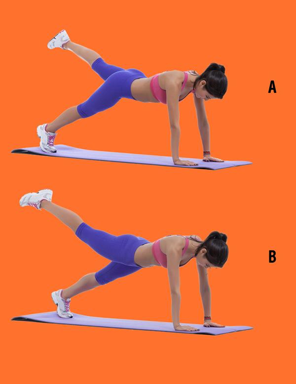 Thực hiện động tác plank với một chân đưa lên cao mỗi chân ít nhất 30 giây.