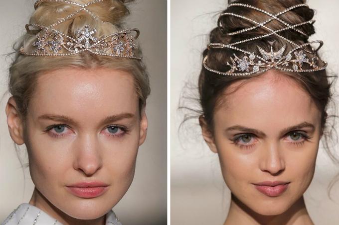 Mái tóc búi cao sẽ không còn lỗi mốt, cứng nhắc khi kết hợp cùng vương miện có dáng như một chiếc lồng chim. Từng dải pha lê đan xem vào các lọn tóc và làm cho bạn tỏa sáng.