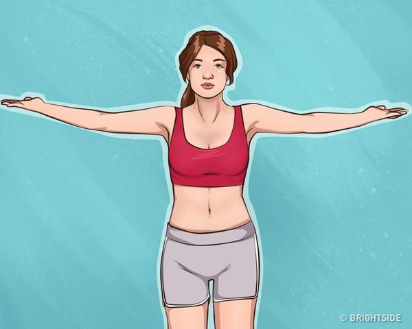 Đứng thẳng, hai tay đưa sang ngang vai, lòng bàn tay hướng lên trên. Vươn tay cao lên đầu, hai lòng bàn tay úp vào nhau. Thực hiện động tác 20 lần.