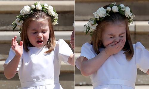 Công chúa Charlotte bị 'soi' khi hắt xì trong đám cưới chú Harry