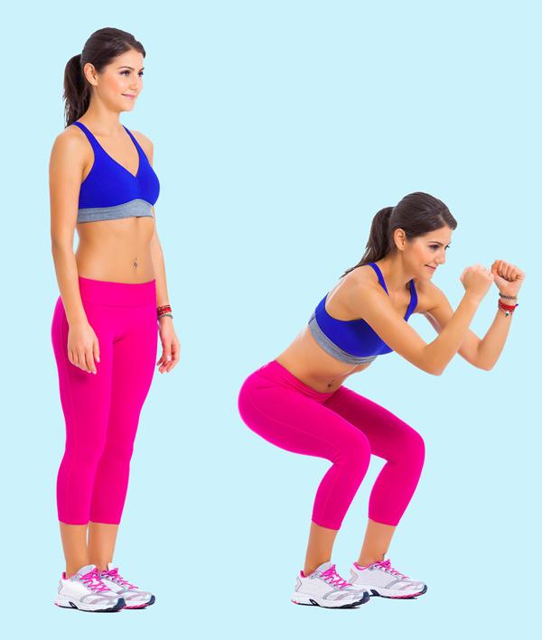 Squats Động tác squats được biết đến là bài tập cho siêu vòng ba. Tuy nhiên, động tác này còn tác động lớn đến vùng cơ bụng. Thực hiện động tác squats 20 - 30 lần.