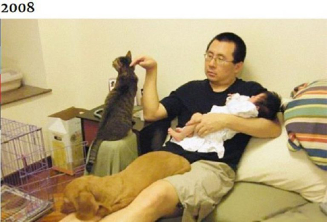 Những bức ảnh ngày ấy - bây giờ của ông bố Hong Kong với con gái và thú cưng