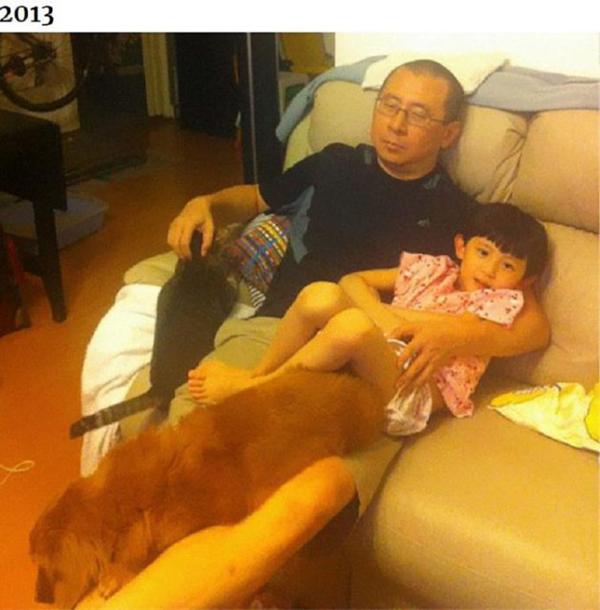 Những bức ảnh ngày ấy - bây giờ của ông bố Hong Kong với con gái và thú cưng - 1