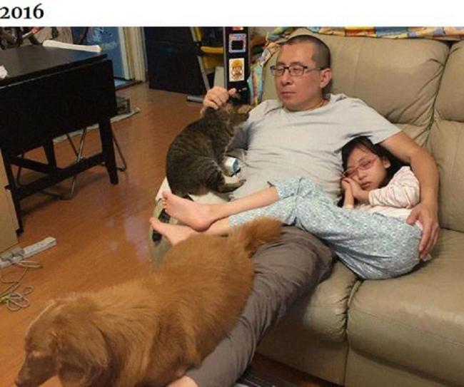 Những bức ảnh ngày ấy - bây giờ của ông bố Hong Kong với con gái và thú cưng - 4