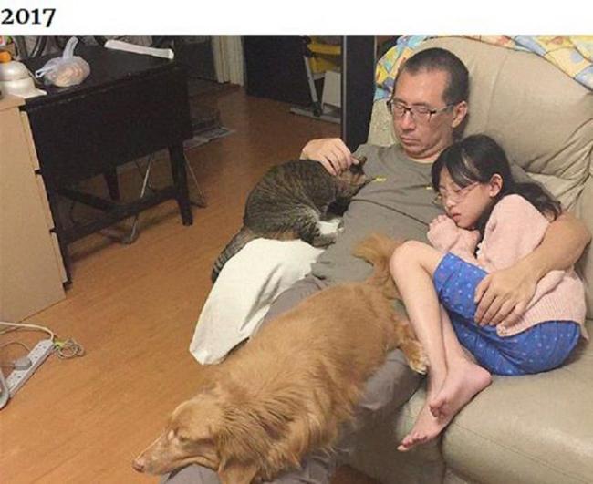 Những bức ảnh ngày ấy - bây giờ của ông bố Hong Kong với con gái và thú cưng - 5