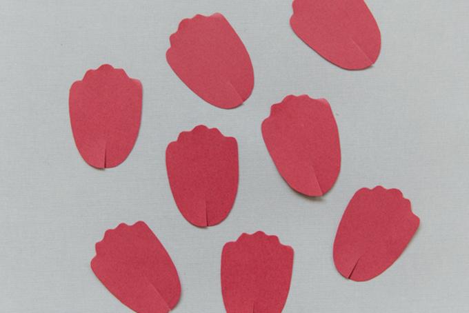 Bước 4: Cắt một đường dài khoảng 2 cm ở mép dưới cùng của cánh hoa.