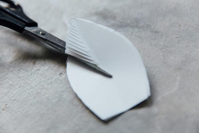 Bước 7: Cắt tua rua tại hai bên mép của giấy để tạo hình lông vũ.