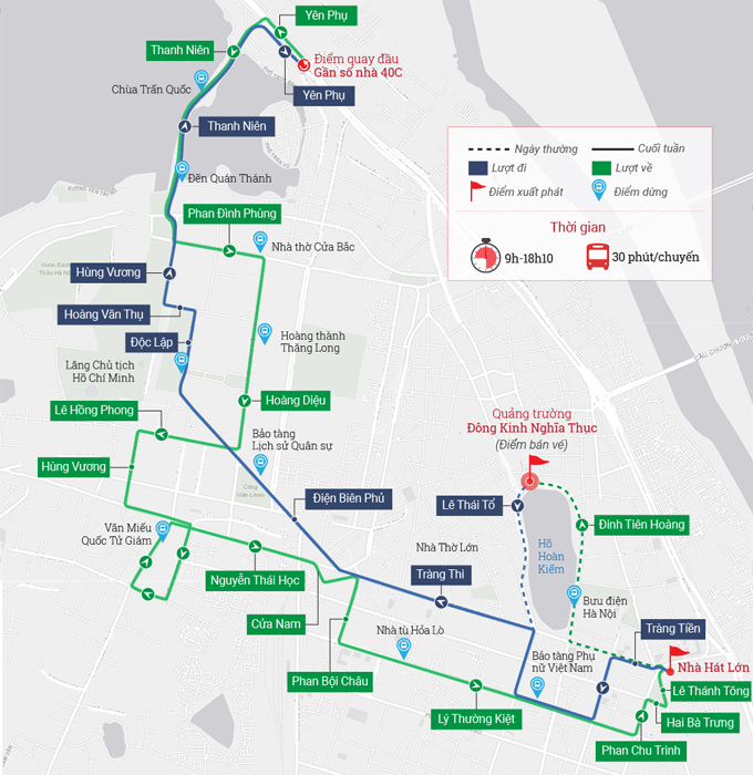 Lịch trình xe bus Hop on Hop off ở Hà Nội. Đồ họa: VnExpress