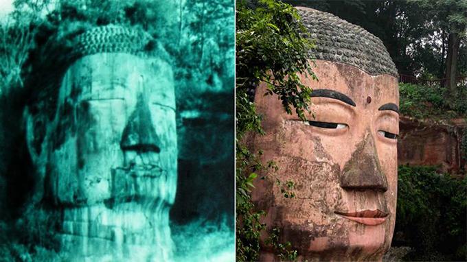 Bức tượng chụp vào hai thời điểm, khi Đức Phật rơi nước mắt và vẻ mặt hiền từ