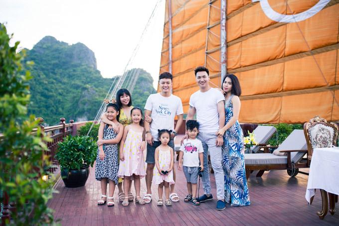 Mạnh Trường, Hồng Đăng cùng vợ con nghỉ dưỡng trên du thuyền 5 sao