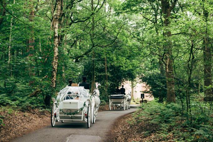 Quintus và Kenny di chuyển tới lâu đài bằng xe ngựa trắng giống với hình ảnh bạch mã hoàng tử trong truyện cổ tích.