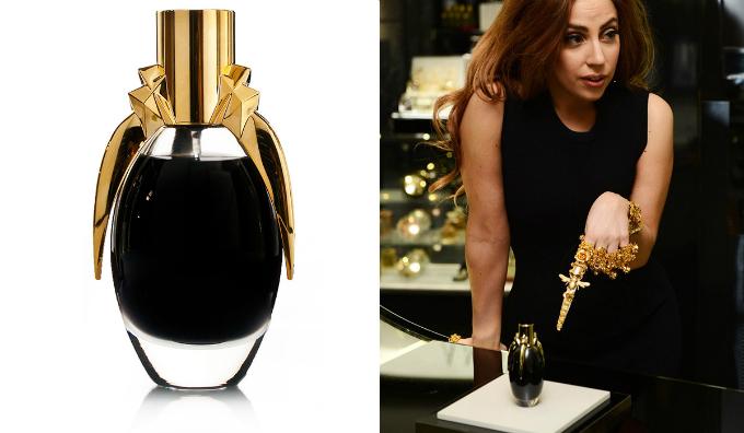 Lady Gaga sở hữu dòng nước hoa là dung dịch màu đen và đóng chai như lọ thuốc độc. Ảnh:beautyheaven.