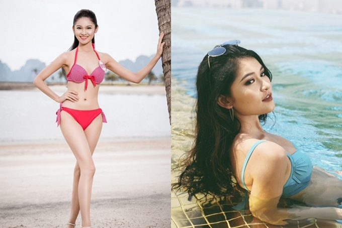 Sau Hoa hậu Việt Nam 2016, Á hậu Thùy Dung chỉ mặc bikini khi chụp một số bộ ảnh thời trang. Cô cao 1,71m, số đo 84-60-90.