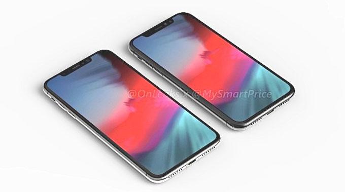 Tài khoản Twitter @Onleak - tên thật là Steve Hemmerstoffer - chia sẻ bộ ảnh dựng về iPhone X Plus và iPhone 6.1 LCD. Theo hình ảnh so sánh giữa iPhone X Plus 6,5 inch và iPhone 6,1 inch LCD, kích thước giữa hai máy không chênh lệch nhiều.