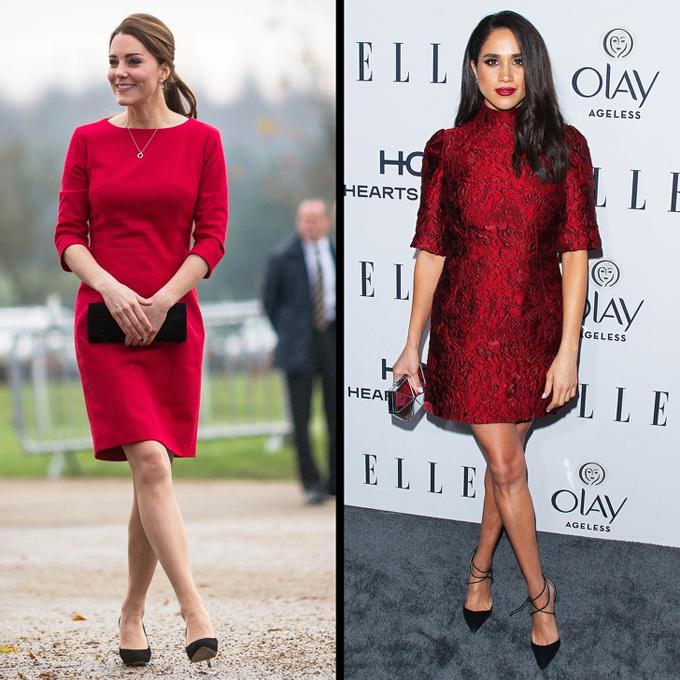 Sắc đỏKate và Meghan chứng minh rằng không có lý do gì để bạn ngại mặc màu này. Dù với hoạt động ban ngày hay sự kiện buổi tối, phái đẹp vẫn thêm phần cuốn hút khi khoác trên mình bộ cánh tone đỏ nổi bật.