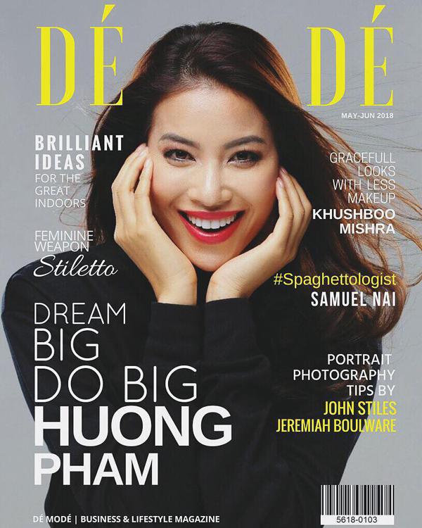 Hình ảnh Phạm Hương trên bìa tạp chí Pháp Dé Modé.