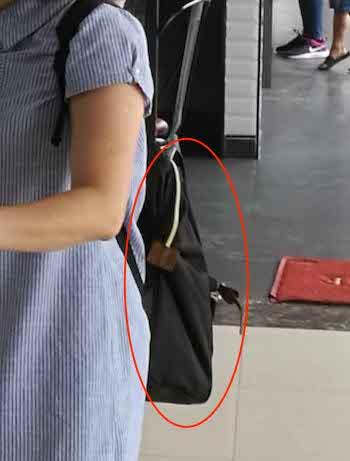 Chiếc ba lô lúc bà Jin Zin đeo ở lưng tại khu vực sân bay Vinh trước khi bỏ quên. Ảnh: CTV.