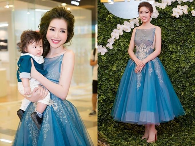 Là đương kim Hoa hậu, Mỹ Linh luôn đầu tư cho hình ảnh và phong cách thời trang. Cô được các nhà thiết kế ưu ái thực hiện riêng trang phục hoặc cho mượn các bộ cánh mới mặc lần đầu tiên. Nhưng không ít lần, sự trùng lặp vẫn vô tình xảy ra, như chiếc váy màu xanh pastel được cả Hoa hậu Việt Nam 2016 và diễn viên Elly Trần chưng diện.