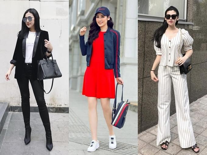 Cô phối nhiều hàng hiệu đi cùng trang phục đời thường để tăng thêm tính thời trang, trong đó có dép Hermes, túi xách Jadior...