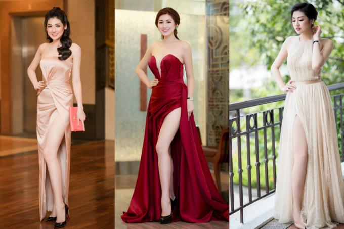 Thỉnh thoảng, phong cách gợi cảm được Tú Anh vận dụng vào những bộ váy dạ hội dự sự kiện. Kiểu xẻ chân cao cùng thiết kế cúp ngực là sự lựa chọn được Á hậu yêu thích.