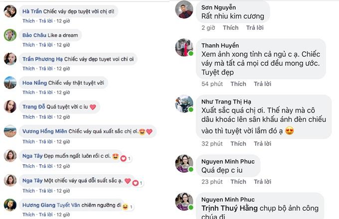 Những bình luận khen ngợi sự lộng lẫy và ấn tượng về chiếc váy trên trang cá nhân của NTK Phương Linh.