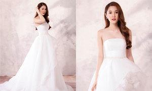Váy cưới lụa công nương 'bắt trend' cho cô dâu Việt