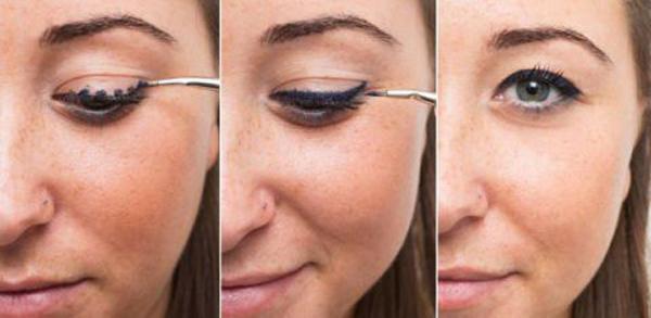 Một mẹo nhỏ khác giúp bạn kẻ đường viền mắt không lem, không đứt đoạn là chấm nhiều chấm nhỏ trên đường mí mắt trước rồi nối liền lại.