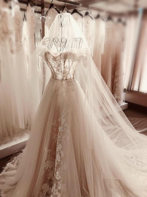 Bà tiên váy cưới Phương Linh cho biết, chị đã đã nghĩ tới vẻ đẹp của những giọt sương buổi sớm mai trong vắt khi sáng tạo nên mẫu váy này. Vì thế, những bông hoa ban sáng(trên thân váy) chưa bung nở rực rỡ mà hé nụ e ấp, dịu dàng. Phương Linh cảm nhận điều này có sự tương đồng với các nàng dâu chuẩn bị bước sang một giai đoạn mới của cuộc đời, hứa hẹn về những ngày tháng rực rỡ phía trước.