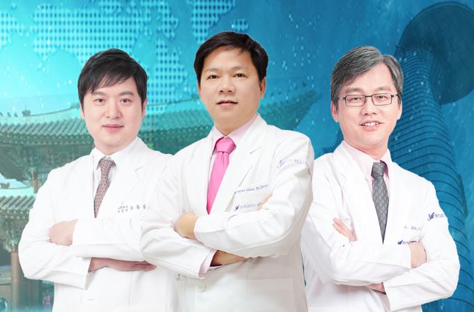 (Từ trái qua) tiến sĩ, bác sĩHong Lim Choi -Chủ tịch Hiệp hội Thẩm mỹ mắt Hàn Quốc; tiến sĩ bác sĩNguyễn Phan Tú Dung - Giám đốc Bệnh viện thẩm mỹ JW Hàn Quốc, tiến sĩ bác sĩMan Koon Suh -Chủ tịch hệ thống JW toàn cầu. Đăng ký tham gia chương trình tại đây.