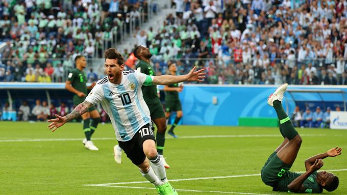 Messi có bàn thắng đầu tiên sau ba trận đấu ở World Cup 2018. Ảnh: FIFA.