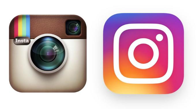 Instagram thay logo cũ (trái) năm 2016 và logo hiện tại (phải) mất 9 tháng để hoàn thành. Ảnh:Tech Insider.