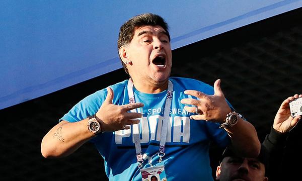 Maradona có mặt ở Nga để theo dõi tất cả các trận đấu của tuyển Argentina tại World Cup 2018. Ảnh: Reuters.