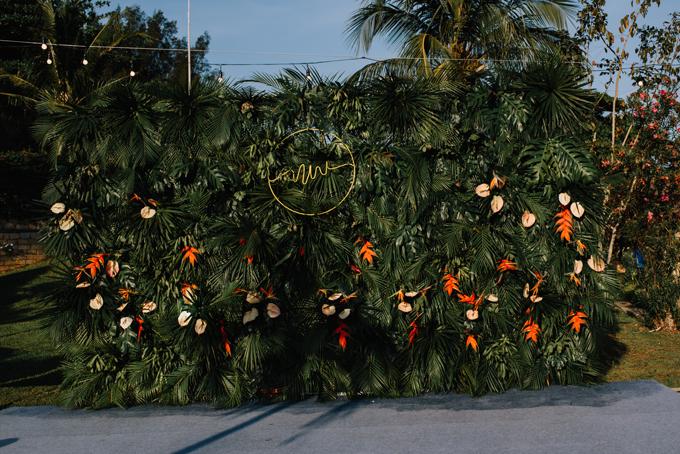 Background chụp hình được tạo từ lá cọ, hoa thiên điểu và hồng môn. Đây đều là những loài hoa, lá có sức chịu hạn tốt và tươi lâu ở ngoài trời.