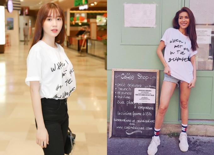 Diễn viên Quỳnh Hương, siêu mẫu Minh Tú cũng theo đuổi mốt áo thun cho mùa hè này.