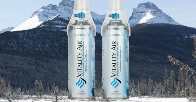 Khí tinh khiết đóng chai Vitality Air có giá bán lẻ 20 USD. Ảnh:CNBC.