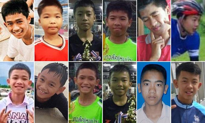 Chân dung 12 cậu bé trong đội bóng thiếu niên có tên Wild Boars bị mắc kẹt trong hang Tham Luang hơn 2 tuần.