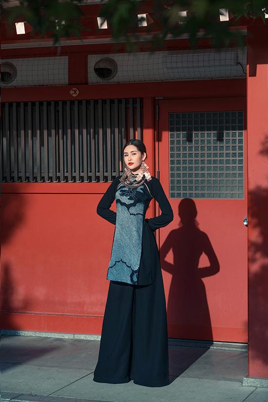 Lê Âu Ngân diện áo dài cách tân khoe dáng tại Nhật Bản - 5