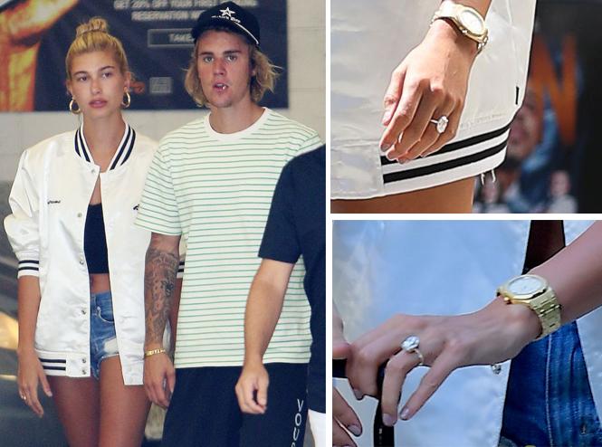 Hailey đeo nhẫn đính hôn khi về New York với Justin Bieber.