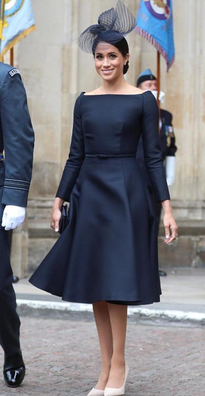 Vợ của Hoàng tử Meghan chọn trang phục quý phái tại sự kiện hoàng gia. Ảnh: Reuters.