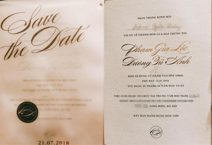 Thiệp cưới của Tú Anh và ông xã Gia Lộc.