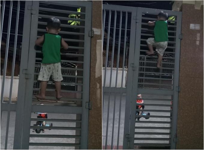 Bé 3 tuổi bị bắt quả tang trèo cổng trốn đi chơi với bạn - ảnh 1