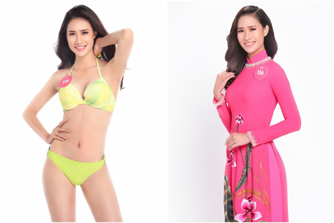 Thí sinh Lê Thị Hà Thu Chiêu trong trang phục bikini và áo dài.
