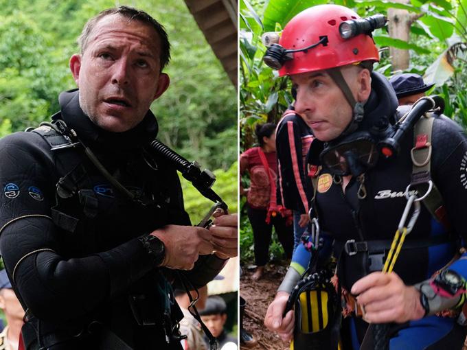 John Volanthen (trái) và Rick Stanton (phải) trong chiến dịch giải cứu đội bóng nhí Thái Lan. Ảnh: Sky News.