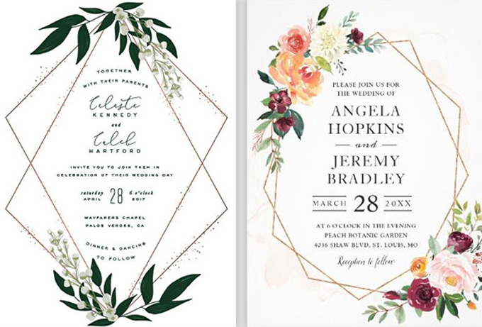 Ngoài tông màu xanh, trắng chủ đạo, cô dâu chú rể có thể kết hợp thêm những màu sắc rực rỡ để tấm thiệp thêm nổi bật.